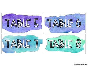 Watercolor Labels for Group and/or Table Numbers