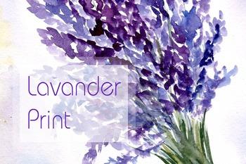 Watercolor Lavender Bouquet - Print - JPG+PNG