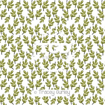 Watercolor Leaf Pattern on White digital paper Printable Tracey Gurley