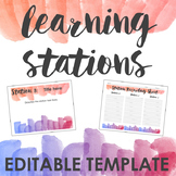 Watercolor Learning Stations Template -- Create your own e