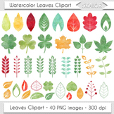 Watercolor Leaves Clip Art Autumn Leaf Clipart Silhouette Watercolor Foliage