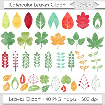 Watercolor Leaves Clip Art Autumn Leaf Clipart Silhouette Watercolor Foliage