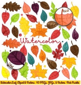 Watercolor Leaves Clipart Clip Art, Autumn Fall Thanksgiving Leaf Clipart