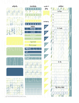 Watercolor Leaves - Teacher Planner Weekly Layout Stickers