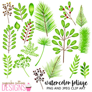 Watercolor Leaves and Foliage Clip Art Word Art Sweet Summer Digital Set