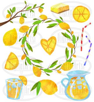 Watercolor Lemons Clipart