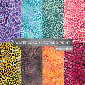 Watercolor Leopard Print Digital Paper