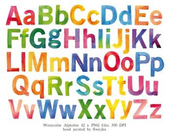 Watercolor Letters, hand painted alphabet clipart, ABC