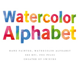 Watercolor Letters, hand painted alphabet clipart, ABC