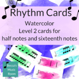 Watercolor Level 2 Rhythm Cards for half notes and sixteen