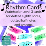 Watercolor Level 3 Rhythm Cards for syncopa and single eig