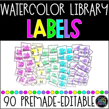 Target Adhesive Pocket Labels   Watercolor Labels   Library Labels   EDITABLE