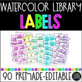 Watercolor Library Labels EDITABLE