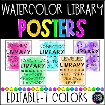 Watercolor Decor | Watercolor Library Posters | EDITABLE Classroom Posters