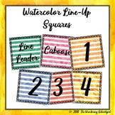 Watercolor Line-Up Squares