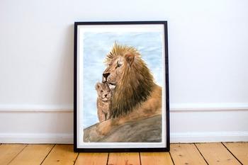 Watercolor Lion Father Print