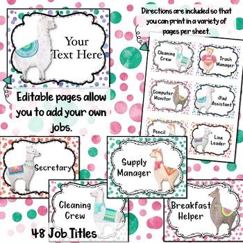 Watercolor Llama Job Chart EDITABLE & CUSTOMIZABLE