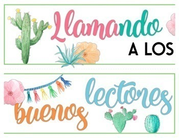 Watercolor Llama Theme Spanish Reading Posters