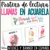 Watercolor Llama Theme Spanish Reading Posters