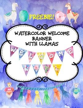 Watercolor Llama Welcome Banner- Kid Friendly Font- Freebie!