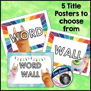 Watercolor Llama Word Wall Class Decor for Back to School