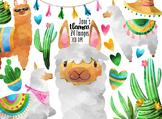 Watercolor Llamas Clipart
