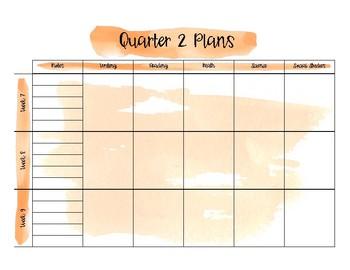 Watercolor Long Range Lesson Plan Template