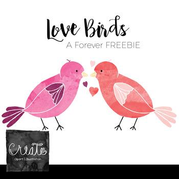 Watercolor Love Birds Clip Art