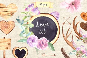 Watercolor Love Clip Art Set