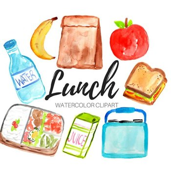 Watercolor Lunch clipart