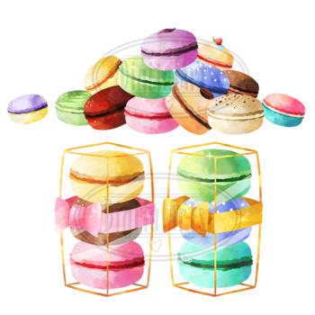 Watercolor Macarons Clipart