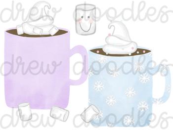 Watercolor Marshmallow Hot Chocolate Digital Clip Art Set