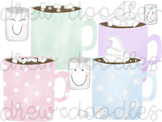 Watercolor Marshmallow Hot Chocolate Digital Clip Art Set