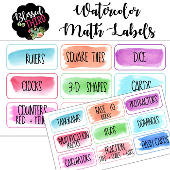 Watercolor Math Bin Labels *editable*