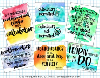 Watercolor Math Posters