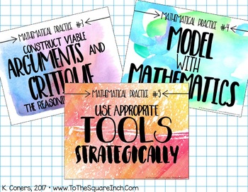 Watercolor Mathematical Practices Posters