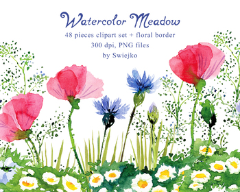 Watercolor Meadow, flowers, contry style, poppies, cornflowers, clover