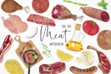 Watercolor Meat Clipart, Meat Graphics, Meat Products Clip