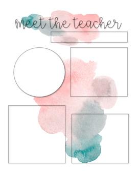 watercolor meet the teacher editable templates by the