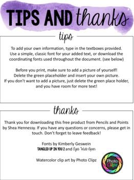 Watercolor Meet the Teacher Newsletter- Editable