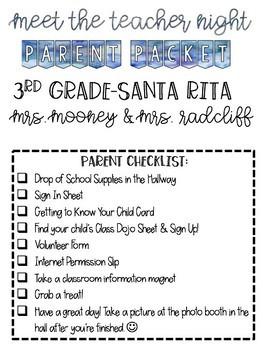 Watercolor Meet the Teacher or Open House Parent Packet