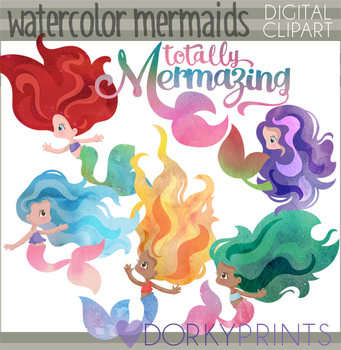 Watercolor Mermaid Clipart