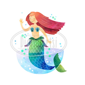 Watercolor Mermaids Clipart