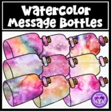 Watercolor Message in a Bottle Clipart