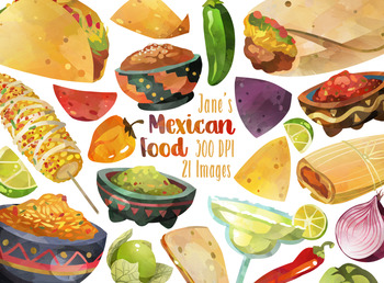 Watercolor Mexican Food Clipart