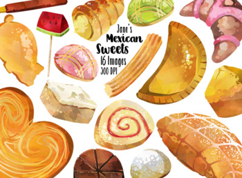 Watercolor Mexican Sweets Clipart