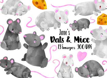 Watercolor Mice Clipart