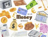 Watercolor Money Clipart, Money Graphics, Money Illustrati