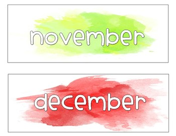 Watercolor Months Labels