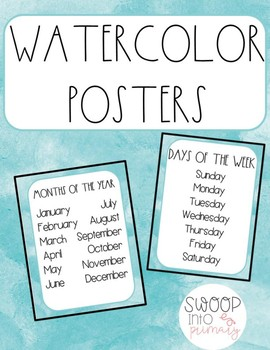 Watercolor Months and Days Posters